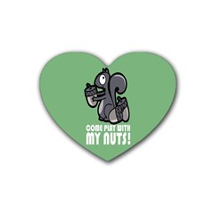 Pet Squirrel Green Nuts Rubber Coaster (Heart)