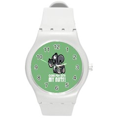 Pet Squirrel Green Nuts Round Plastic Sport Watch (M)