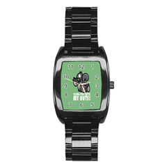 Pet Squirrel Green Nuts Stainless Steel Barrel Watch