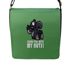 Pet Squirrel Green Nuts Flap Messenger Bag (L)