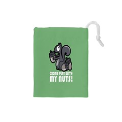 Pet Squirrel Green Nuts Drawstring Pouches (Small)