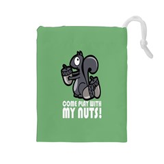 Pet Squirrel Green Nuts Drawstring Pouches (Large)
