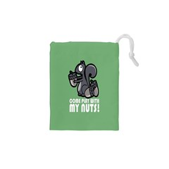 Pet Squirrel Green Nuts Drawstring Pouches (XS)