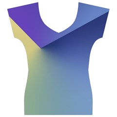 Purple Yellow Women s V-Neck Cap Sleeve Top