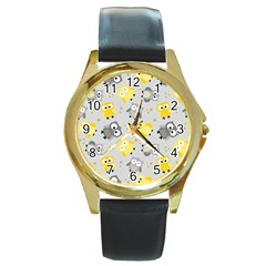 Owl Bird Yellow Animals Round Gold Metal Watch