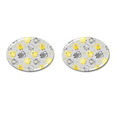Owl Bird Yellow Animals Cufflinks (Oval)