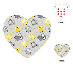 Owl Bird Yellow Animals Playing Cards (Heart)