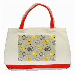 Owl Bird Yellow Animals Classic Tote Bag (red)