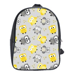 Owl Bird Yellow Animals School Bags (XL)