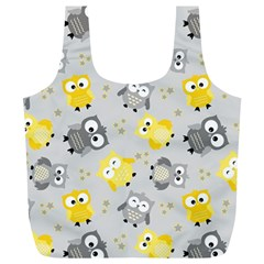 Owl Bird Yellow Animals Full Print Recycle Bags (L)