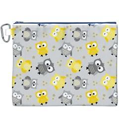 Owl Bird Yellow Animals Canvas Cosmetic Bag (XXXL)