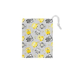Owl Bird Yellow Animals Drawstring Pouches (XS)