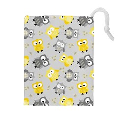 Owl Bird Yellow Animals Drawstring Pouches (Extra Large)