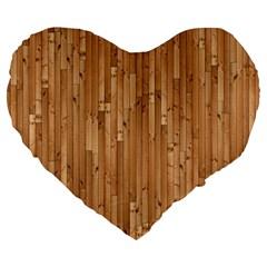 Parquet Floor Large 19  Premium Flano Heart Shape Cushions