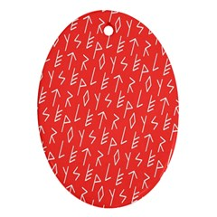 Red Alphabet Ornament (Oval)