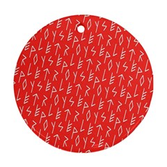 Red Alphabet Round Ornament (Two Sides)