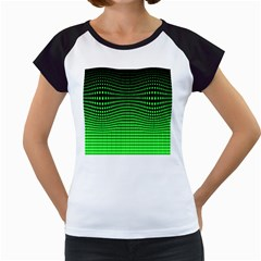Neon Green And Black Halftone Copy Women s Cap Sleeve T