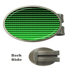 Neon Green And Black Halftone Copy Money Clips (Oval)