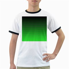 Neon Green And Black Halftone Copy Ringer T-Shirts