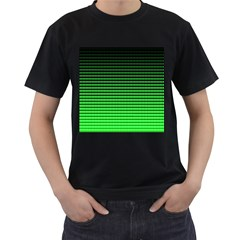 Neon Green And Black Halftone Copy Men s T-Shirt (Black) (Two Sided)