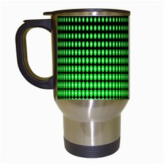 Neon Green And Black Halftone Copy Travel Mugs (White)