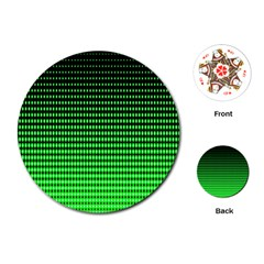 Neon Green And Black Halftone Copy Playing Cards (Round)