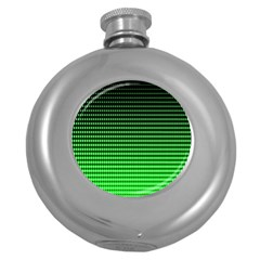 Neon Green And Black Halftone Copy Round Hip Flask (5 oz)