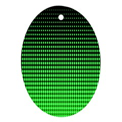 Neon Green And Black Halftone Copy Oval Ornament (Two Sides)
