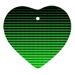 Neon Green And Black Halftone Copy Heart Ornament (2 Sides)