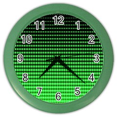Neon Green And Black Halftone Copy Color Wall Clocks