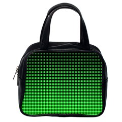 Neon Green And Black Halftone Copy Classic Handbags (One Side)