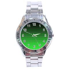 Neon Green And Black Halftone Copy Stainless Steel Analogue Watch