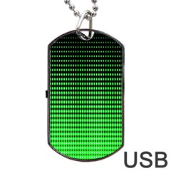 Neon Green And Black Halftone Copy Dog Tag USB Flash (One Side)