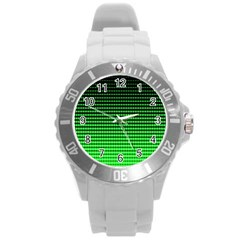 Neon Green And Black Halftone Copy Round Plastic Sport Watch (L)