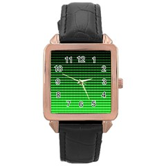 Neon Green And Black Halftone Copy Rose Gold Leather Watch