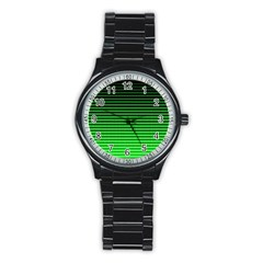 Neon Green And Black Halftone Copy Stainless Steel Round Watch