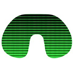 Neon Green And Black Halftone Copy Travel Neck Pillows