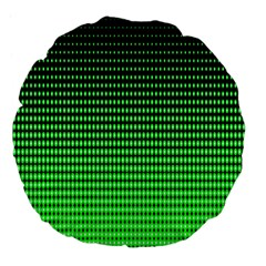 Neon Green And Black Halftone Copy Large 18  Premium Flano Round Cushions