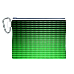 Neon Green And Black Halftone Copy Canvas Cosmetic Bag (L)