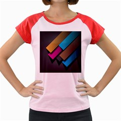 Shapes Box Brown Pink Blue Women s Cap Sleeve T-Shirt