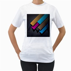 Shapes Box Brown Pink Blue Women s T-Shirt (White) (Two Sided)