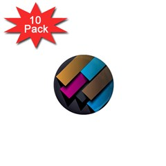 Shapes Box Brown Pink Blue 1  Mini Magnet (10 pack)
