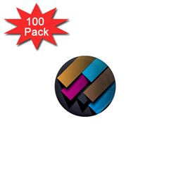 Shapes Box Brown Pink Blue 1  Mini Magnets (100 pack)