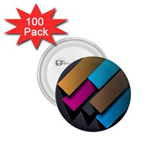 Shapes Box Brown Pink Blue 1.75  Buttons (100 pack)
