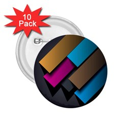 Shapes Box Brown Pink Blue 2.25  Buttons (10 pack)