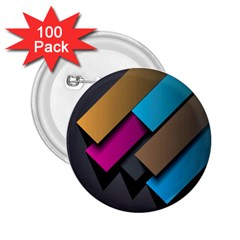 Shapes Box Brown Pink Blue 2.25  Buttons (100 pack)