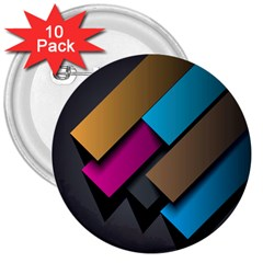 Shapes Box Brown Pink Blue 3  Buttons (10 pack)