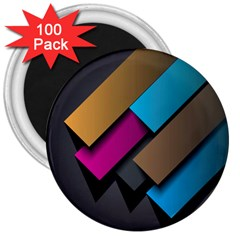 Shapes Box Brown Pink Blue 3  Magnets (100 pack)
