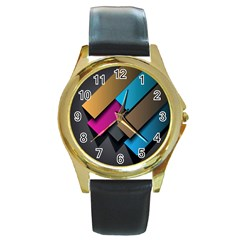 Shapes Box Brown Pink Blue Round Gold Metal Watch