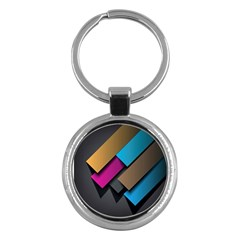 Shapes Box Brown Pink Blue Key Chains (Round)